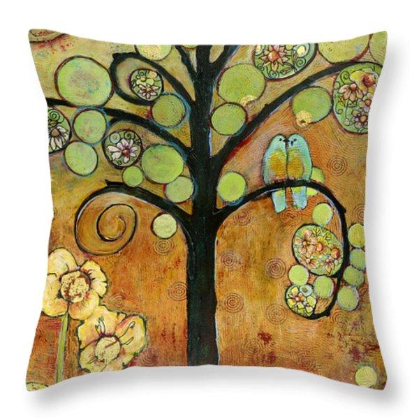 Bluebirds in Paradise Tree Throw Pillow by Blenda Studio