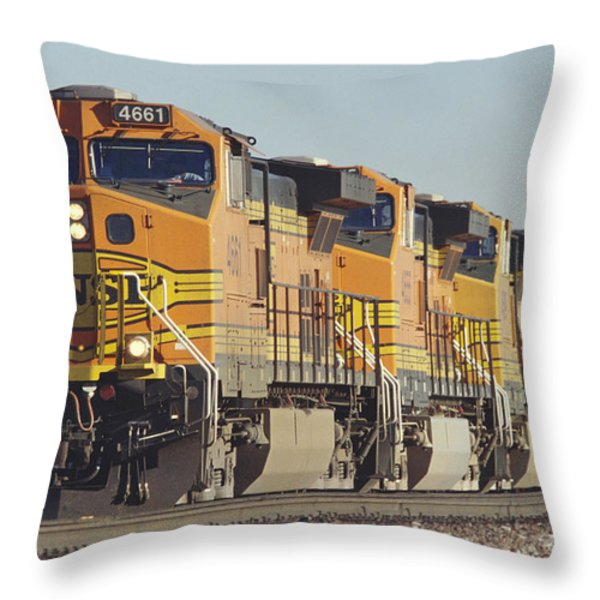 Bnsf Freight Train Throw Pillow by Richard R Hansen and Photo Researchers