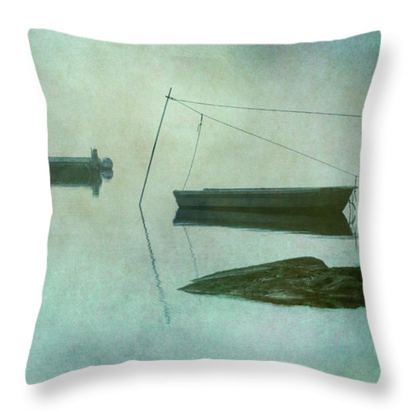 Boat And Dock Taunton River No. 2 Throw Pillow by Dave Gordon