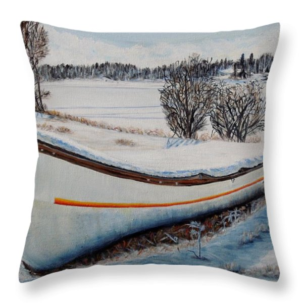 Boat Under Snow Throw Pillow by Marilyn  McNish