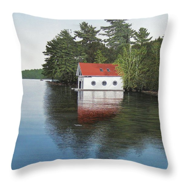 Boathouse Throw Pillow by Kenneth M  Kirsch