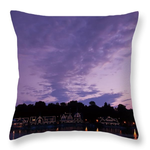 Boathouse Row In Twilight Throw Pillow by Bill Cannon