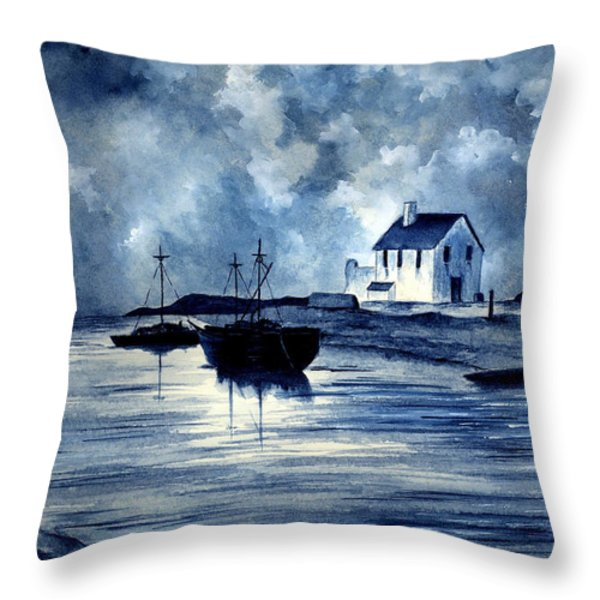 Boats In Blue Throw Pillow by Michael Vigliotti
