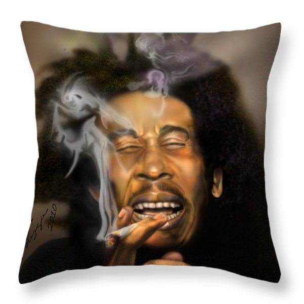Bob Marley-Burning Lights 3 Throw Pillow by Reggie Duffie