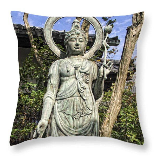 Boddhisattva Buddhist Deity - Kyoto Japan Throw Pillow by Daniel Hagerman