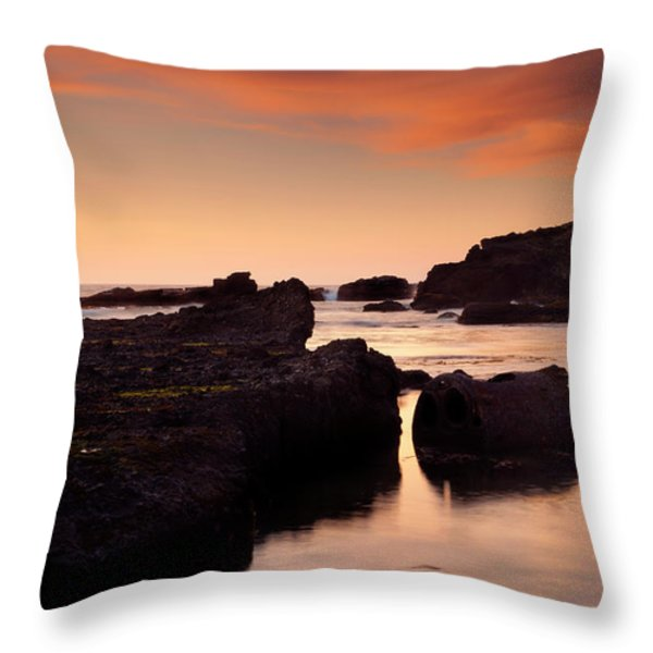 Boiler Bay Sunset Throw Pillow by Mike  Dawson