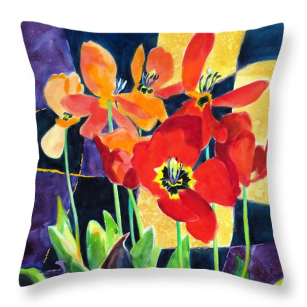 Bold Quilted Tulips Throw Pillow by Kathy Braud
