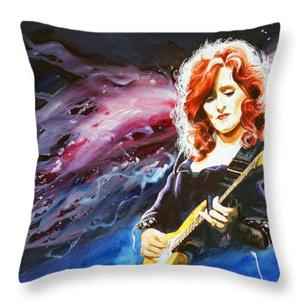 Bonnie Raitt Throw Pillow by Ken Meyer jr