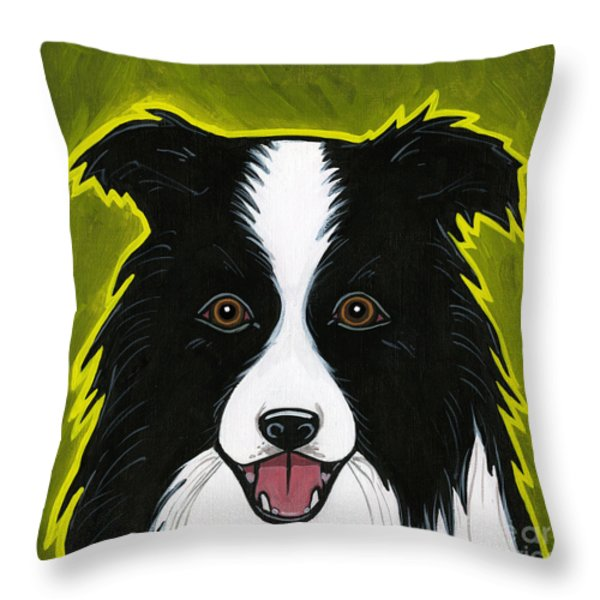 Border Collie Throw Pillow by Leanne Wilkes