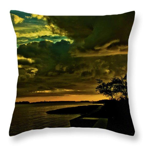 Boston Bay Sunrise Throw Pillow by Albert Seger