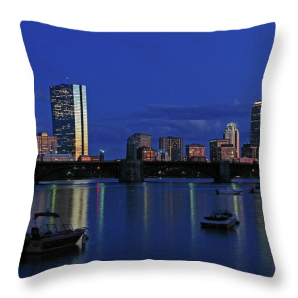 Boston City Lights Throw Pillow by Juergen Roth