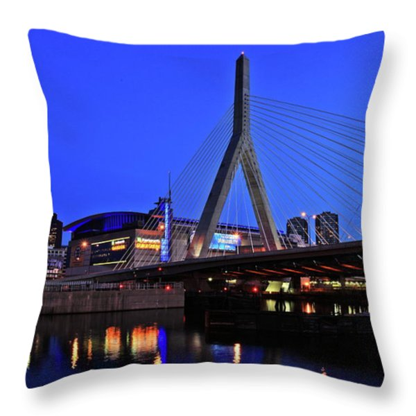 Boston Garden and Zakim Bridge Throw Pillow by Rick Berk