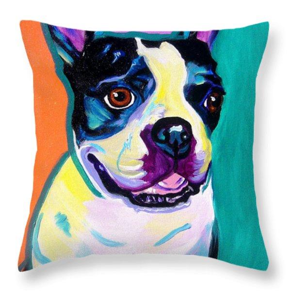 Boston Terrier - Jack Boston Throw Pillow by Alicia VanNoy Call