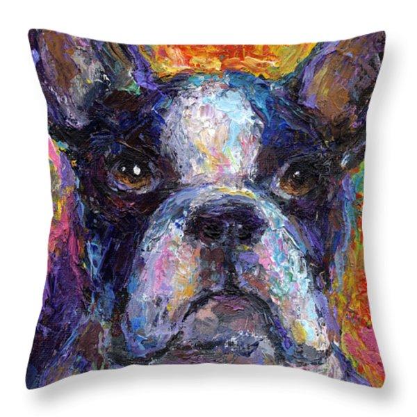 Boston Terrier Impressionistic Portrait Painting Throw Pillow by Svetlana Novikova