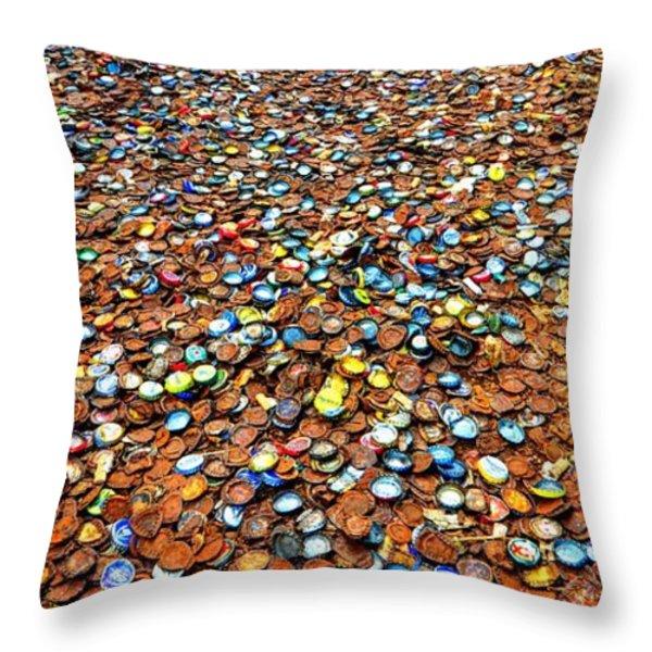 Bottlecap Alley Throw Pillow by David Morefield