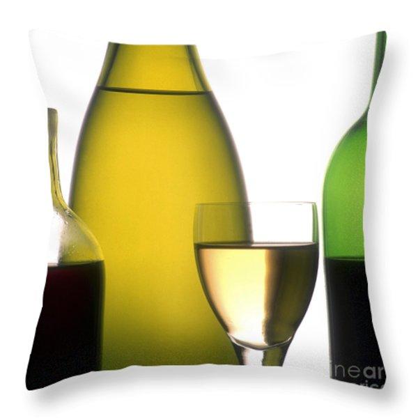 Bottles of variety vine Throw Pillow by BERNARD JAUBERT