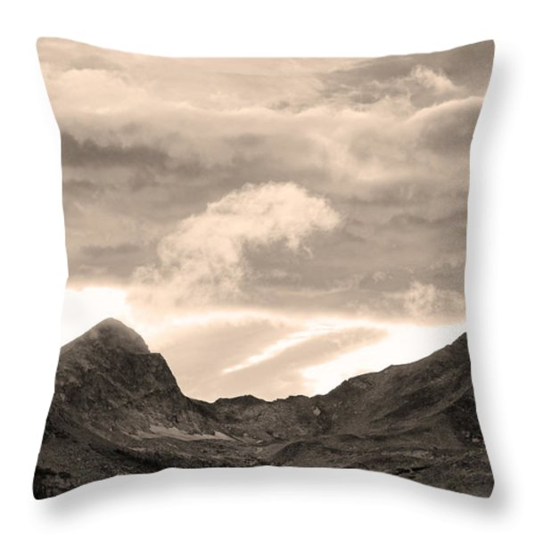 Boulder County Indian Peaks Sepia Image Throw Pillow by James BO  Insogna