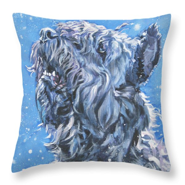Bouvier Des Flandres snow Throw Pillow by Lee Ann Shepard