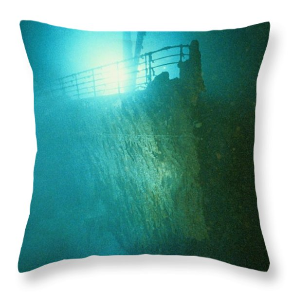 Bow Railing Of R.m.s. Titanic Throw Pillow by Emory Kristof