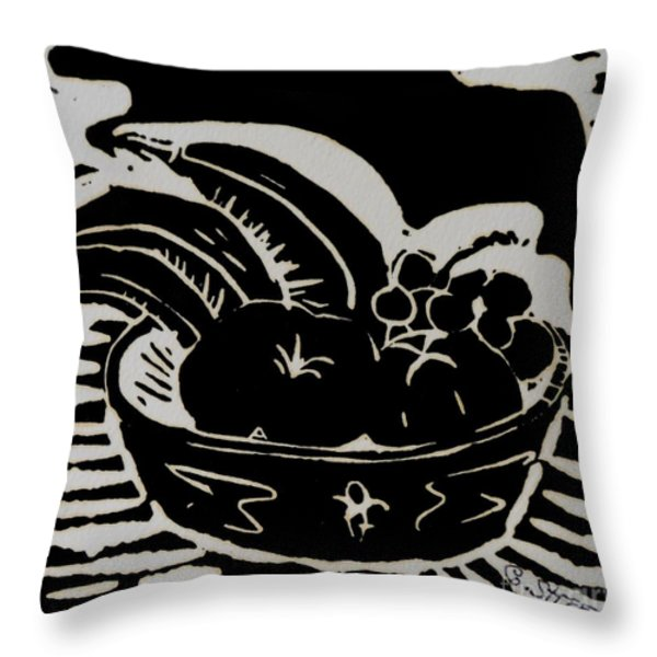 Bowl of Fruit Lino Print Throw Pillow by Caroline Street