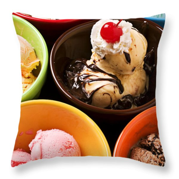Bowls of different flavor ice creams Throw Pillow by Garry Gay