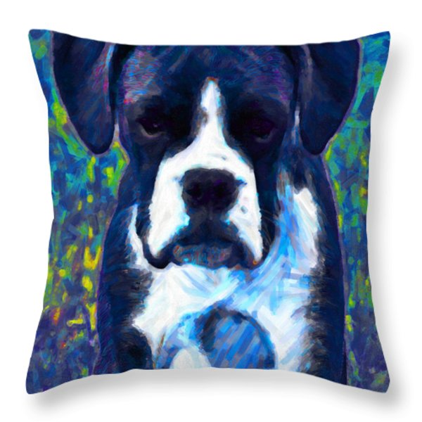 Boxer 20130126v5 Throw Pillow by Wingsdomain Art and Photography