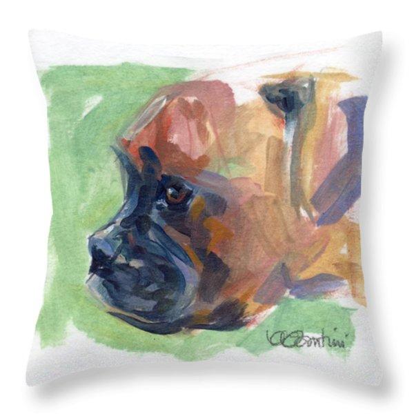 Boxer Pup Throw Pillow by Kimberly Santini
