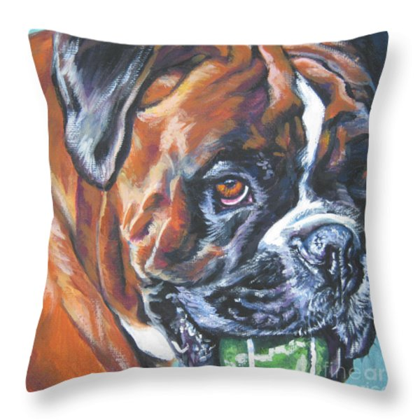 boxer tennis Throw Pillow by Lee Ann Shepard
