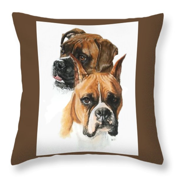 Boxers Throw Pillow by Barbara Keith