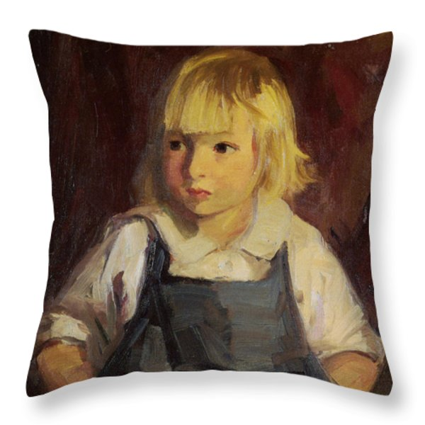 Boy In Blue Overalls Throw Pillow by Robert Henri