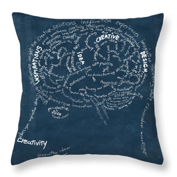 Brain drawing on chalkboard Throw Pillow by Setsiri Silapasuwanchai