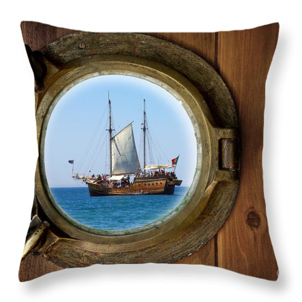 Brass Porthole Throw Pillow by Carlos Caetano