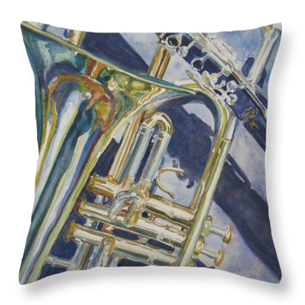 Brass Winds And Shadow Throw Pillow by Jenny Armitage