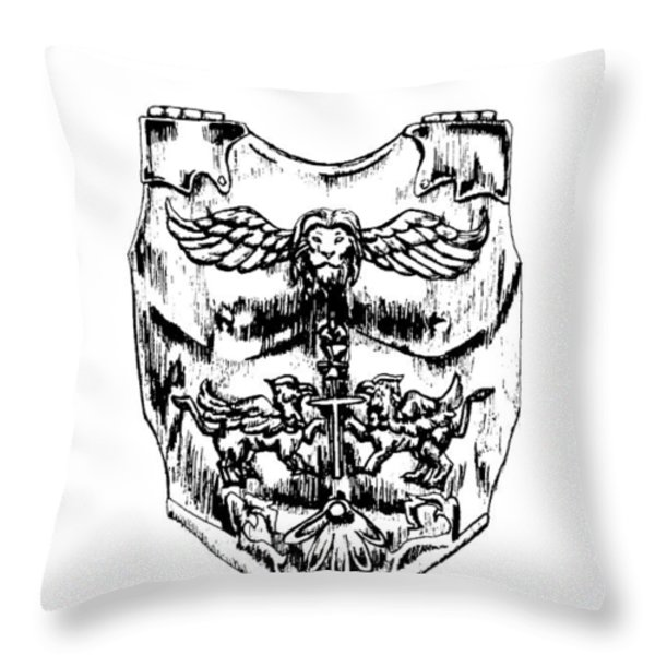 Breastplate of Righteousness Throw Pillow by Maryn Crawford