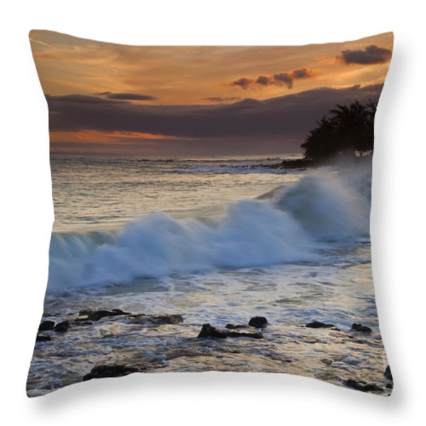 Brennecke Waves Sunset Throw Pillow by Mike  Dawson