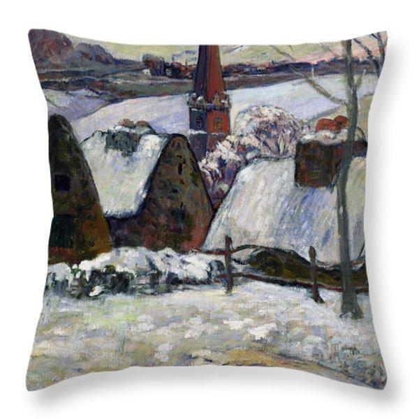 Breton Village Under Snow Throw Pillow by Paul Gauguin