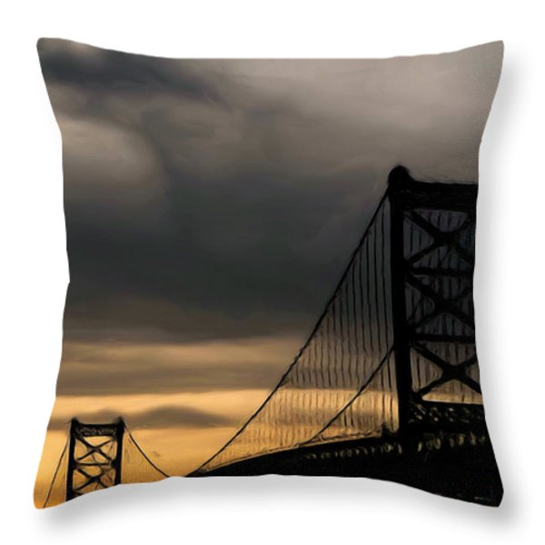 Bridge In Oil Throw Pillow by Thomas  MacPherson Jr