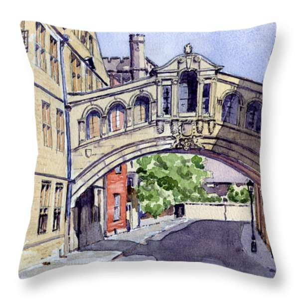 Bridge of Sighs. Hertford College Oxford Throw Pillow by Mike Lester