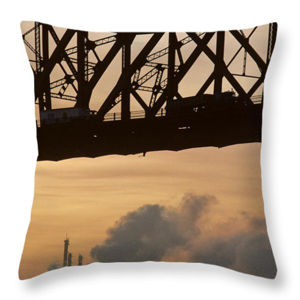 Bridge, River, And Skyline Full Of Air Throw Pillow by Kenneth Garrett