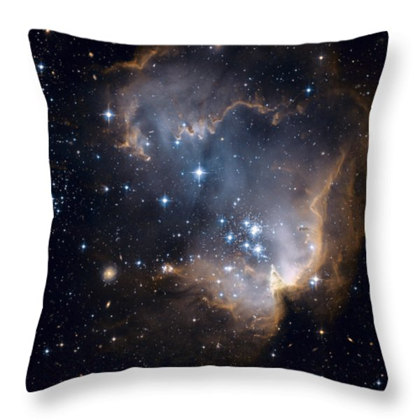 Bright Blue Newborn Stars Blast A Hole Throw Pillow by ESA and nASA