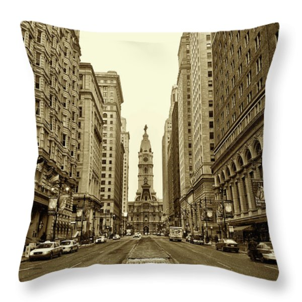 Broad Street Facing Philadelphia City Hall in Sepia Throw Pillow by Bill Cannon