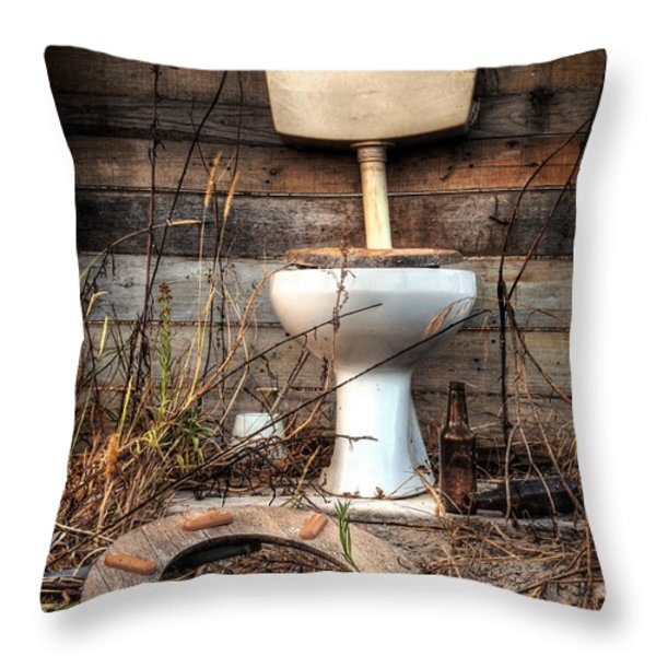 Broken Toilet Throw Pillow by Carlos Caetano