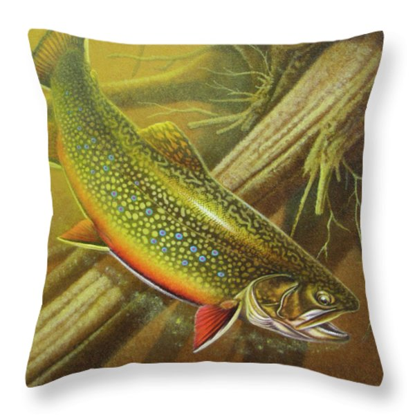 Brook Trout Cover Throw Pillow by JQ Licensing