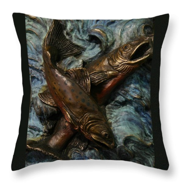 Brook Trout Throw Pillow by Dawn Senior-Trask