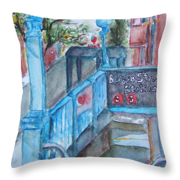 Brooklyn Subway Stop Throw Pillow by Elaine Duras