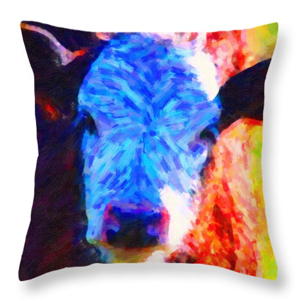 Brown Cow . Painterly Throw Pillow by Wingsdomain Art and Photography