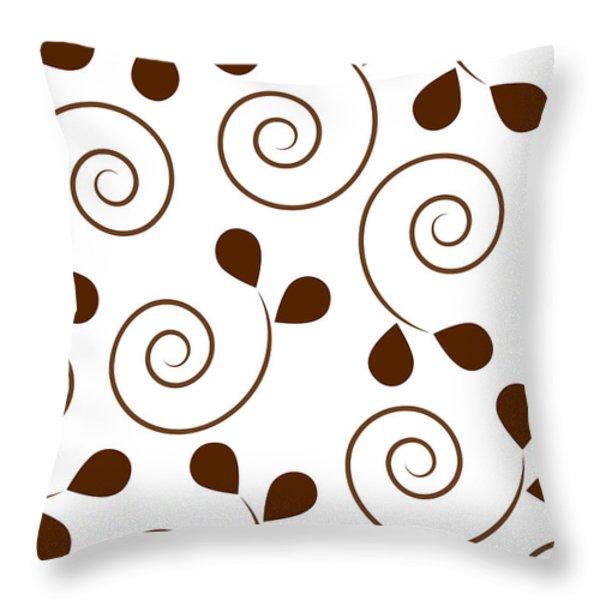 Brown Floral Throw Pillow by Frank Tschakert