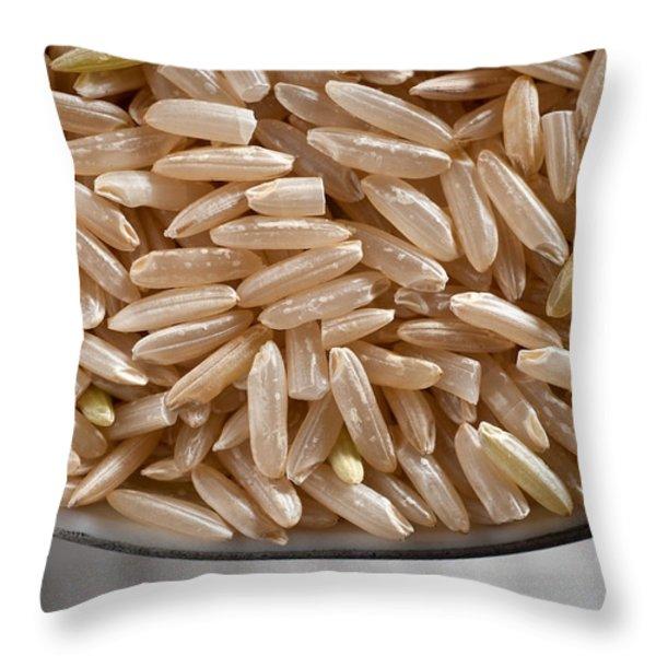 Brown Rice in Bowl Throw Pillow by Steve Gadomski