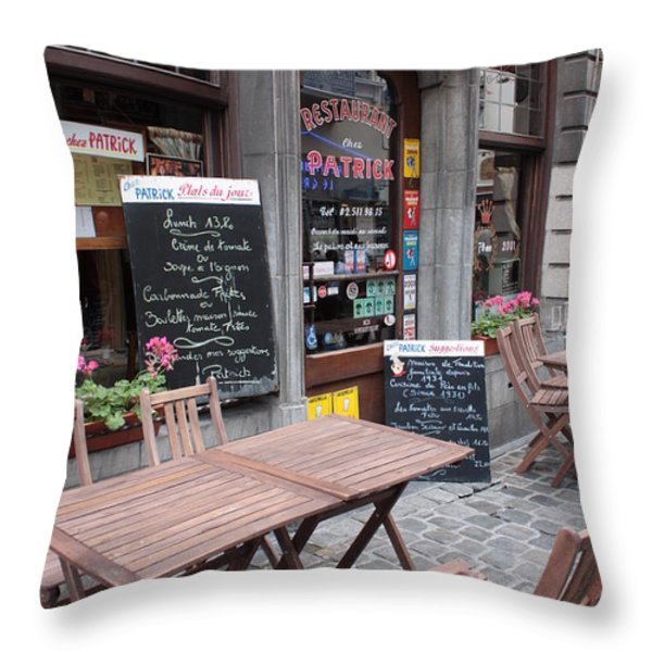 Brussels - Restaurant Chez Patrick Throw Pillow by Carol Groenen