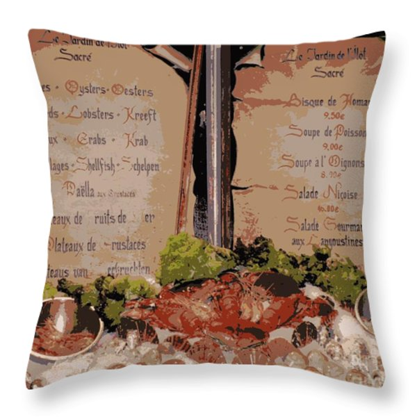 Brussels Menu - Digital Throw Pillow by Carol Groenen